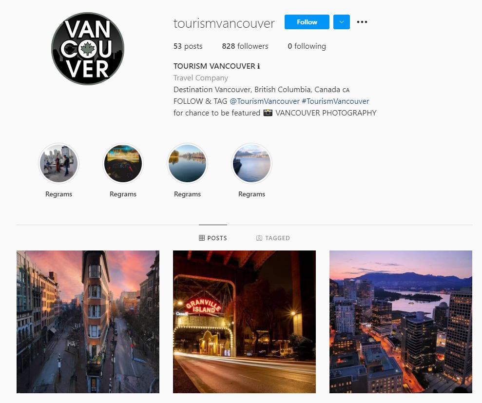 Tourism Vancouver Instagram profile