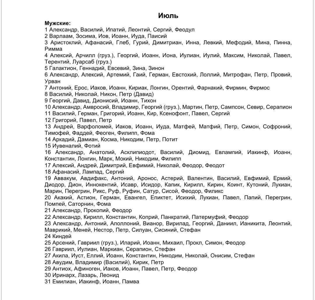 Список мужских имен по святцам - июль месяц