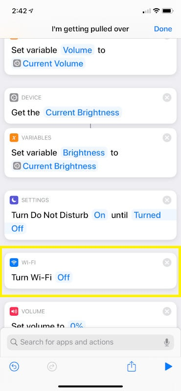 WiFi Off Action Position