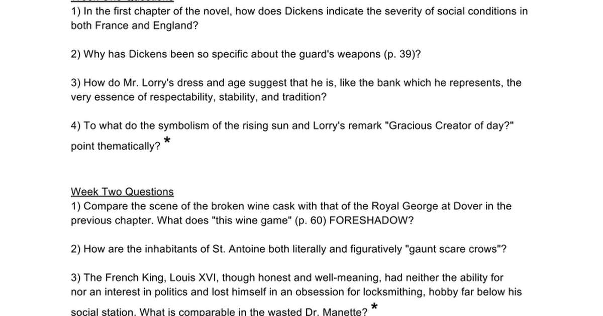 A Tale Of Two Cities Discussion Forum Google Docs