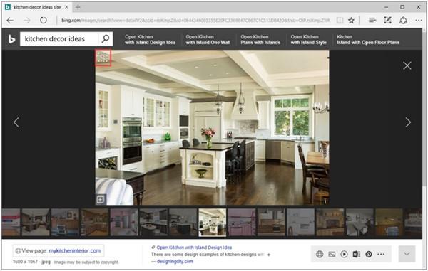 Пример поиска в Bing «идей декора кухни» должен продемонстрировать новые возможности визуального поиска этой системы