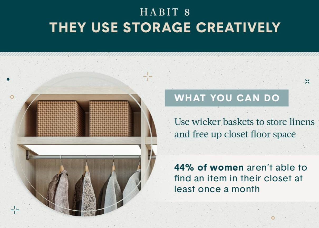 Home Organization Habit 8 be creative with storage use wicker baskets and decorative boxes