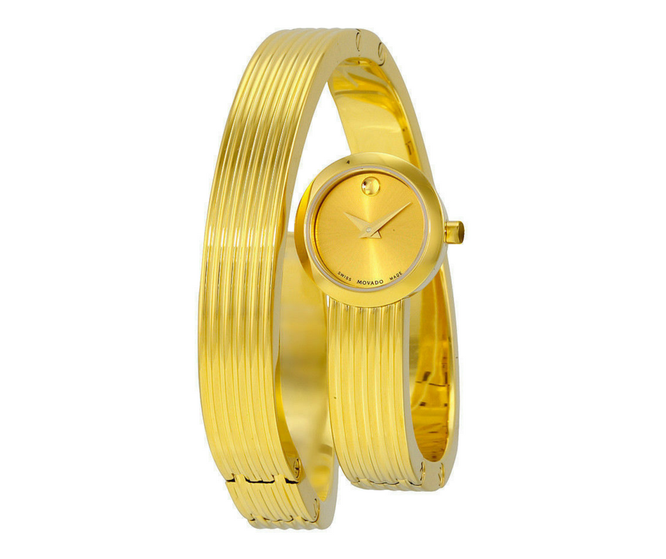 Movado Museum Wrap Yellow Gold Soleil Dial Dress Women's Watch