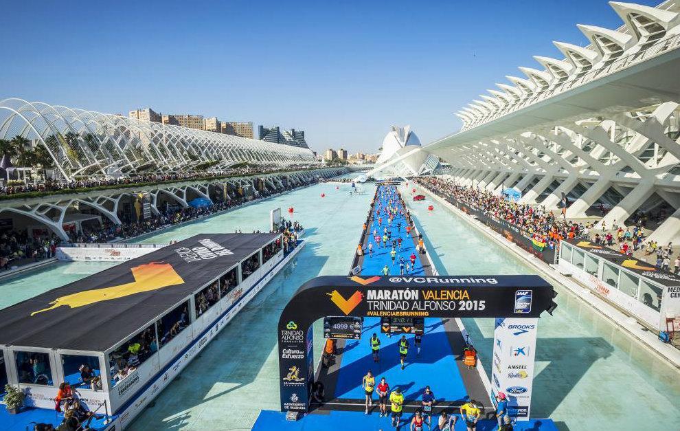 Vista aérea de la llegada del Maratón Valencia en 2015.