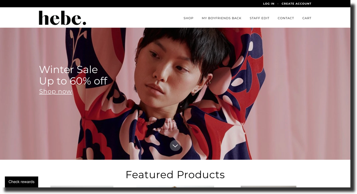 Hebe website screenshot fashion store Ecommerce Website Designs