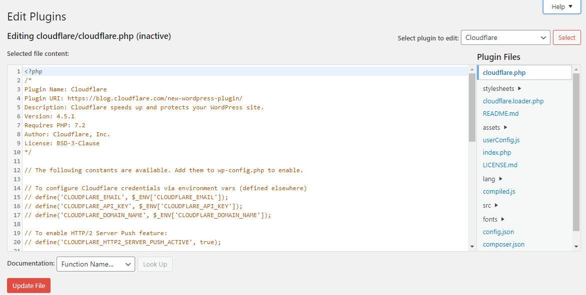 Plugin Editor WordPress Cloudflare