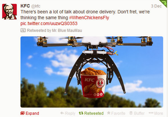 KFC light-heartedly tweets about drones