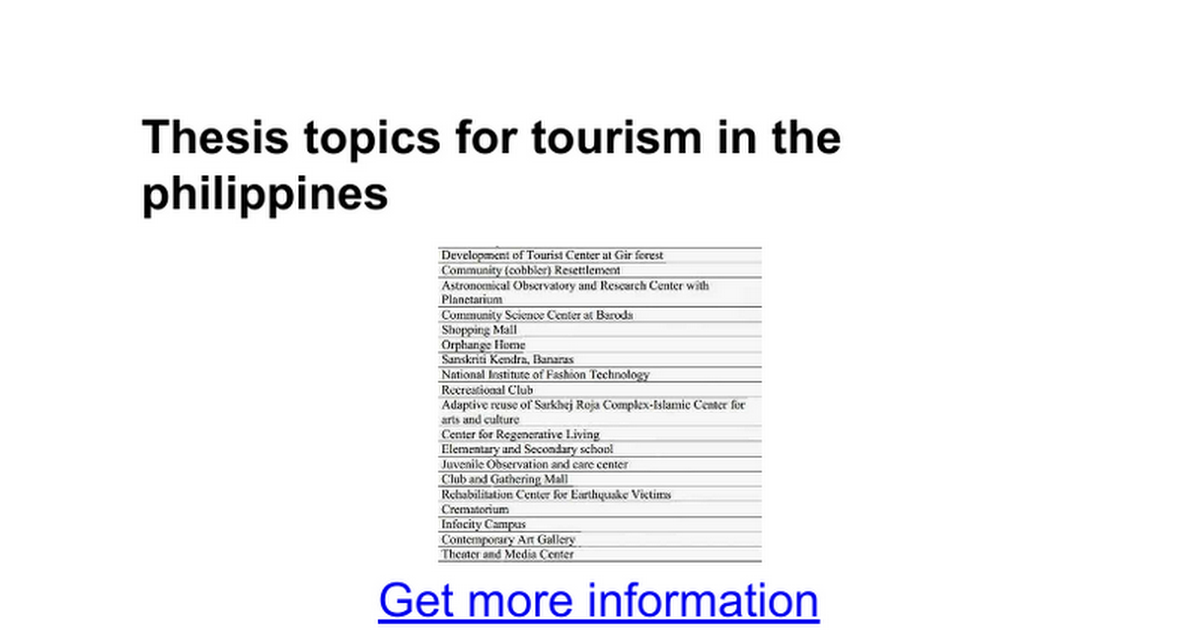 sample thesis title about tourism