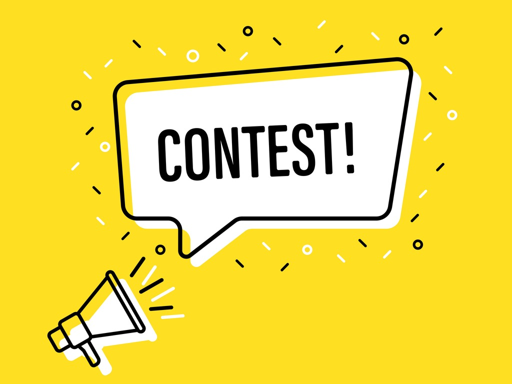 """yellow graphic shouting """"contest!"""""""