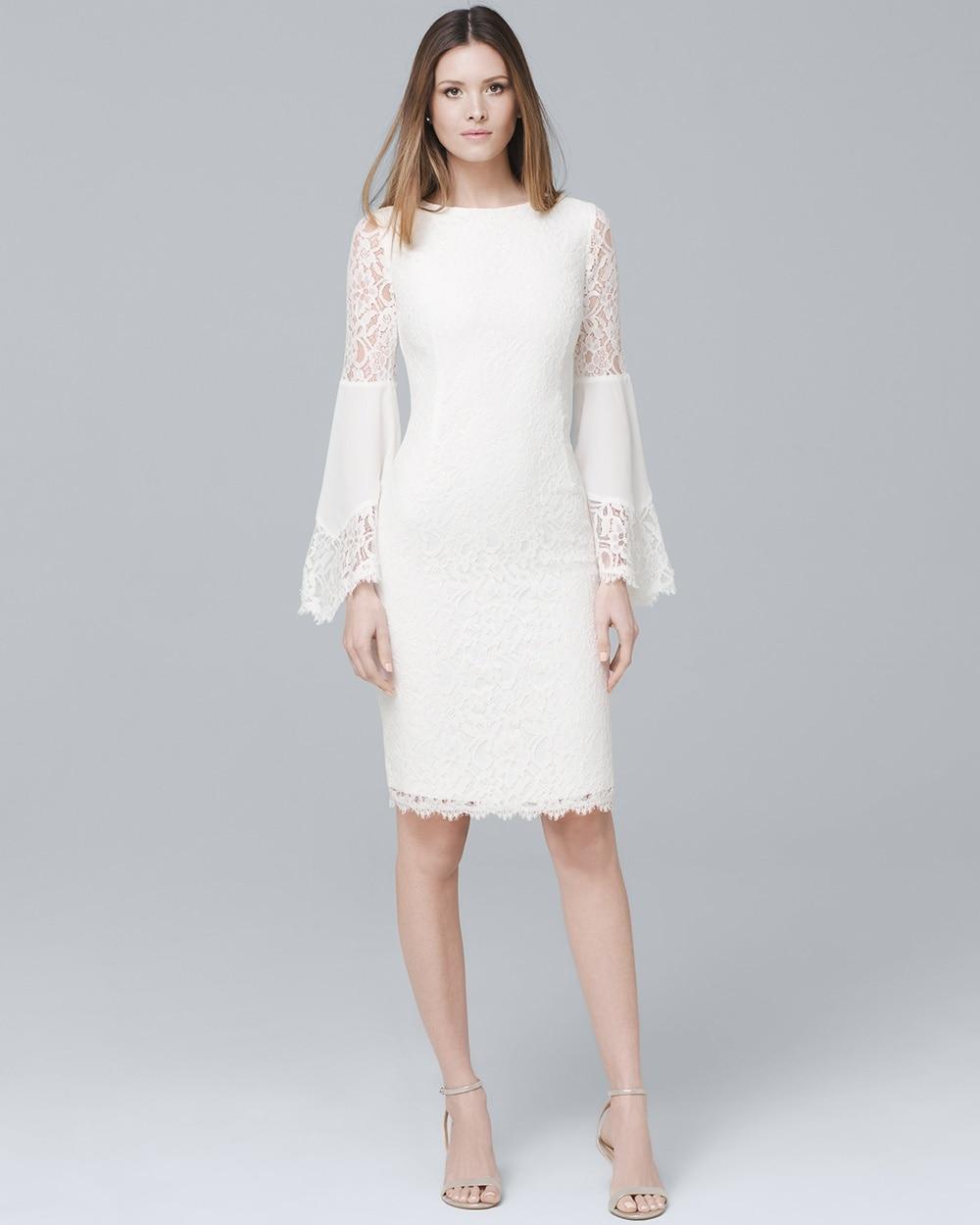 White Lace Bell Sleeve Sheath Dress