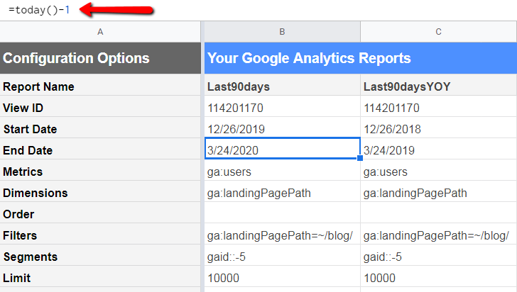 google analytics add-on report configuration with relative dates.