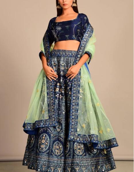 Design #4: Blue Vasansi Silk Lehenga Set