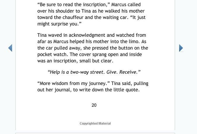 """Interior section from """"The Secret Watch"""", with a simple layout showing 2 paragraphs, an inscription, and the page footer"""