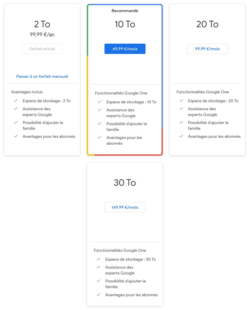 Gérer les espaces de stockage de Google One