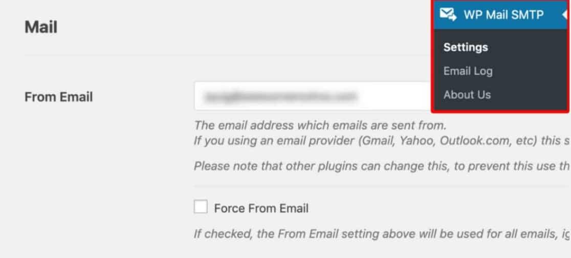 WP Mail SMTP » Configuración y desplázate hacia abajo hasta la sección