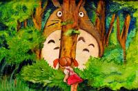 Totoro hiding behind a tree