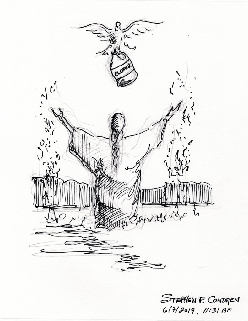 Pen & ink drawing of Jesus being baptized with the Dove of the Holy Spirit hold a bottle of Bleach.