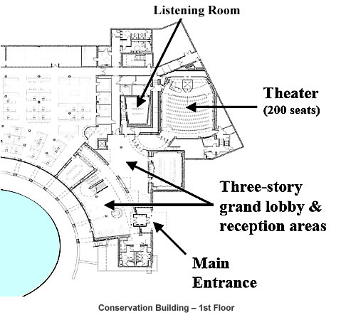 Floorplan of the Conservation Building's first floor.