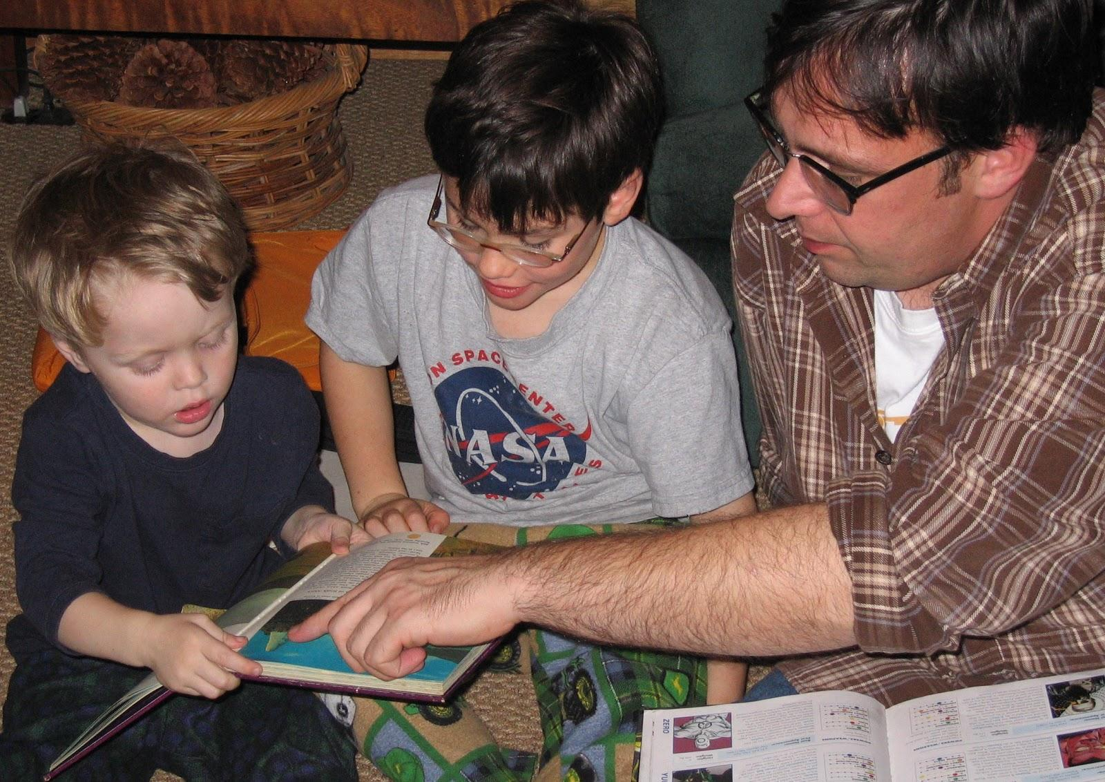 ather and children reading