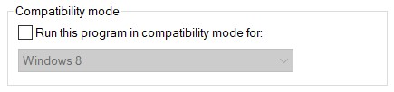 Compatibility Mode section of the Game's properties window