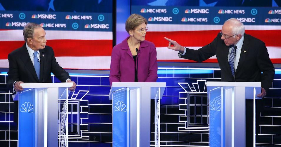 Democratic presidential candidate Sen. Bernie Sanders (I-Vt.) makes a point as Sen. Elizabeth Warren (D-Mass.) and former New York City Mayor Mike Bloomberg listen during the Democratic presidential primary debate at Paris Las Vegas on February 19, 2020 in Las Vegas.