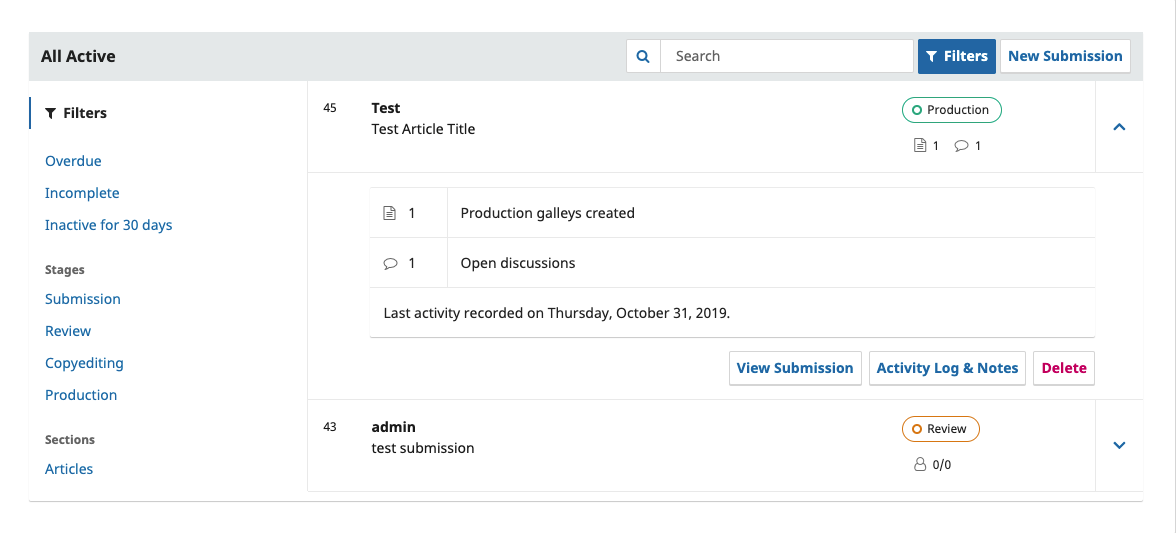 A sample of expanded submission details in the dashboard.