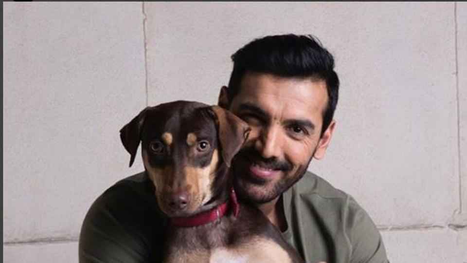 john abraham with his dog