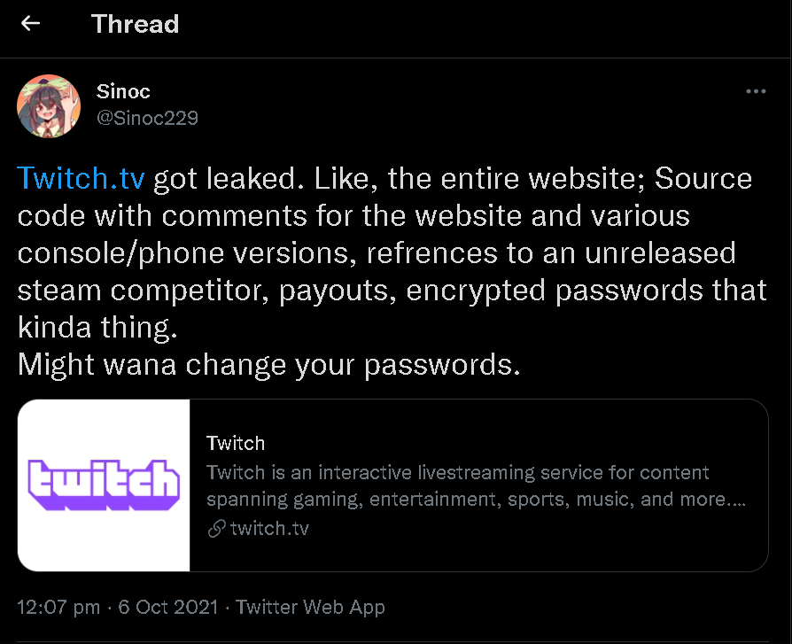 A massive data leak has been reported on Twitch 2