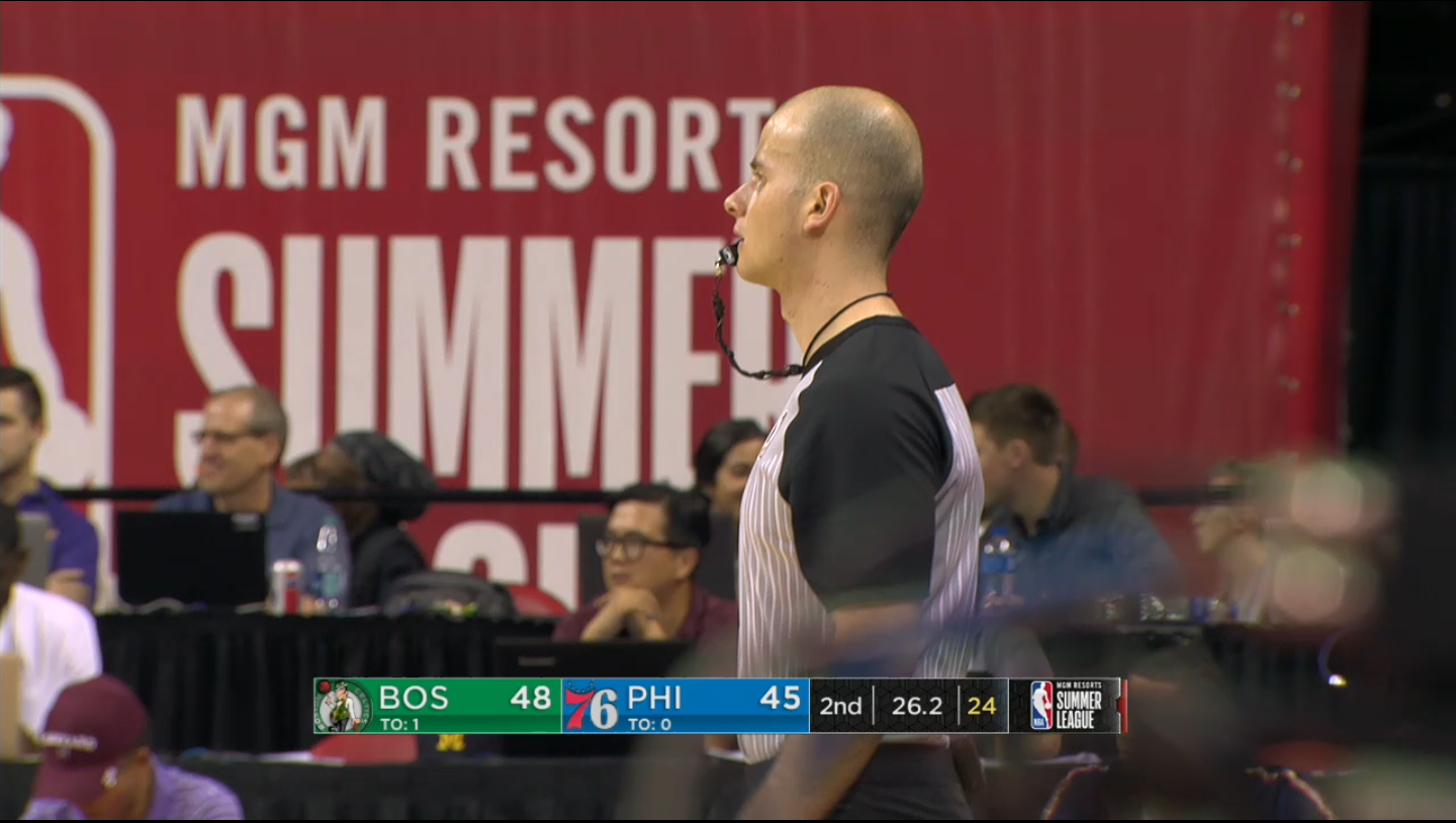 Abazi officating an NBA Summer League game, Boston Celtics vs. Philadelphia 76ers