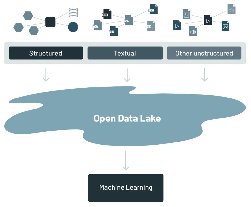 The data lake is an amalgamation of ALL of the different kinds of data found in the corporation