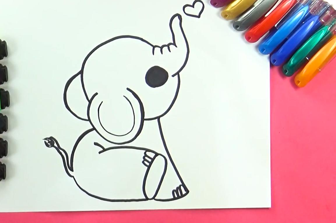 como dibujar un elefante kawaii
