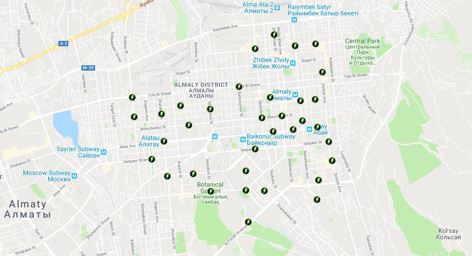 Самые близкие станции — 425 м (самая зеленая дистанция). Среднее расстояние между станциями — 3,5 км. Количество возможных маршрутов до 3,5 км составляет около 53%.. Карта Ербола Султанбаева для блюскрин.кз