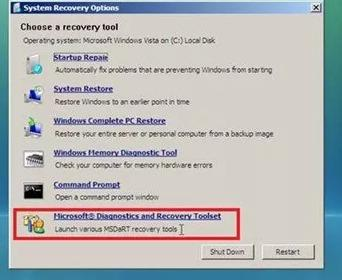 Microsoft Diagnostics and Recovery Toolset