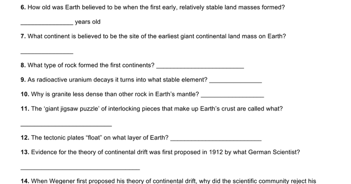 Colliding Continents National Geographic Google Docs – Continental Drift Worksheet