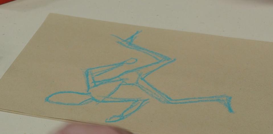 crayon drawing of person