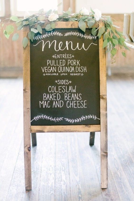 wedding ideas - wedding ideas blog by K'Mich in Philadelphia PA -  wedding planning - wedding signs - menu chalk board