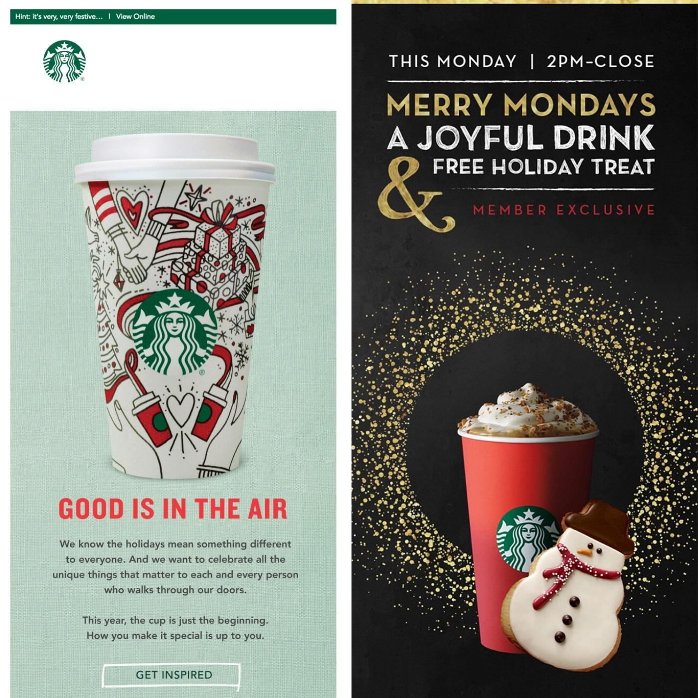 Holiday Starbucks email examples