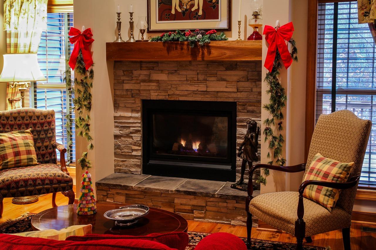 Living room set up for Christmas