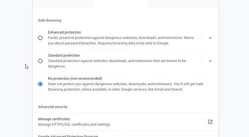 enable no protection under safe browsing to unblock chrome downloads