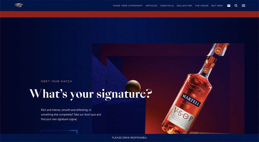 Martell website color schemes examples