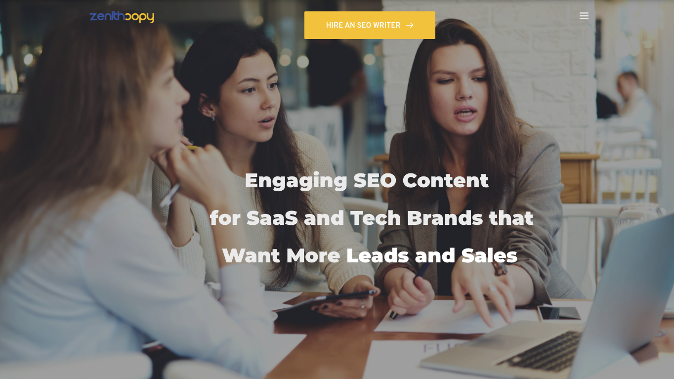 three women talking about customer acquisition and SEO content