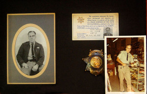 Shadow box with photos of Walt Rogers in his Tuolumne County Deputy Sheriff uniform , his identification card, and his retirement badge