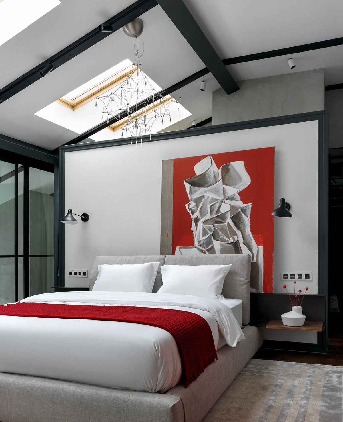 Bedroom in Gray and Red Designs