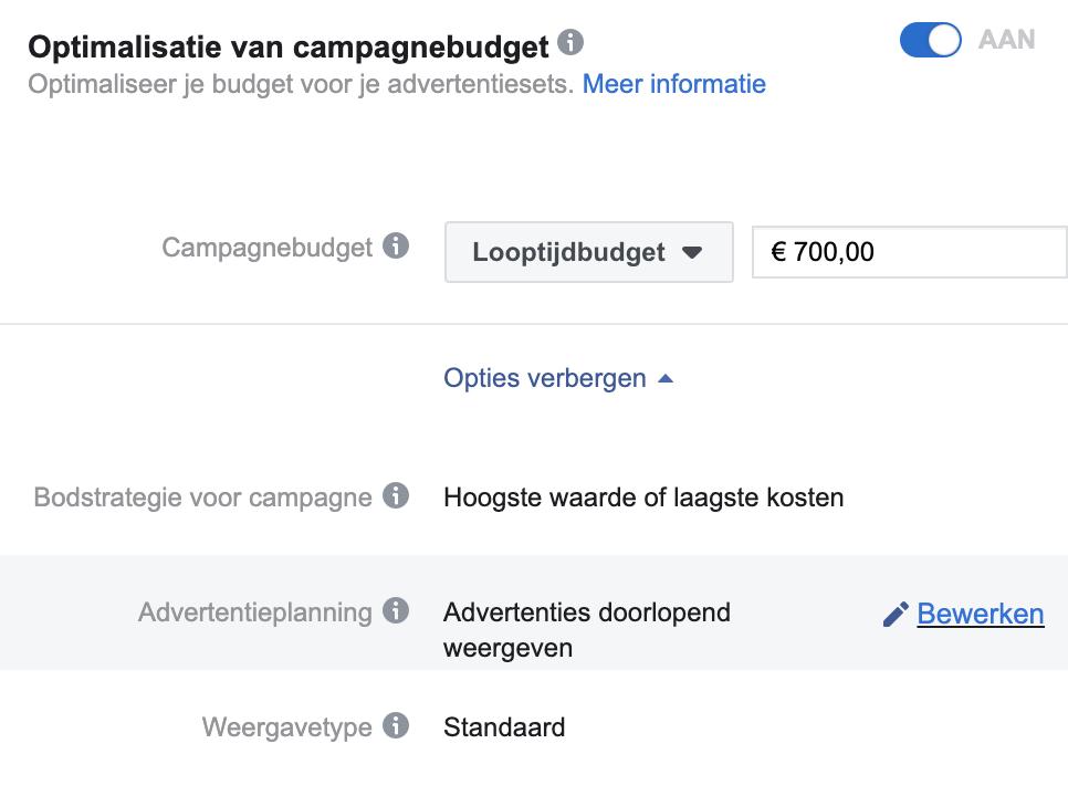 Planning Facebook campagne