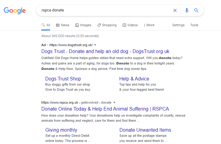 Dogs Trust bidding on search terms for the RSPCA