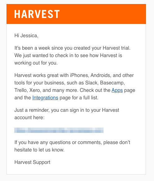B2B Demand Generation Strategy: Email Marketing - Harvest Example