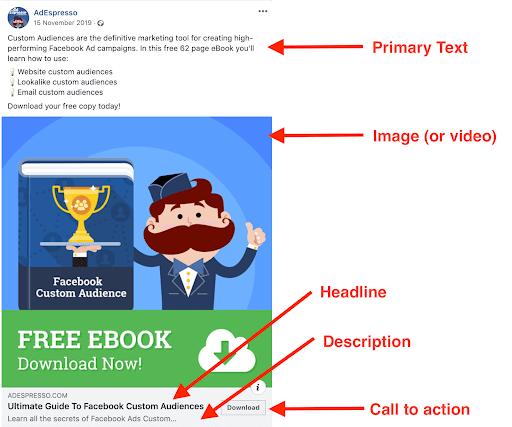 AdEspresso sample Facebook advertisement of Facebook Custom Audience Free E-book.