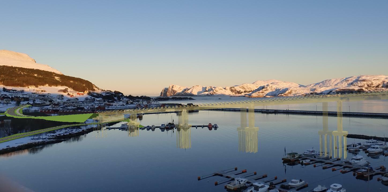 Den prosjekterte modellen av nye Nerlandsøybru i Herøy i Møre og Romsdal, visualisert gjennom Trimble SiteVision.