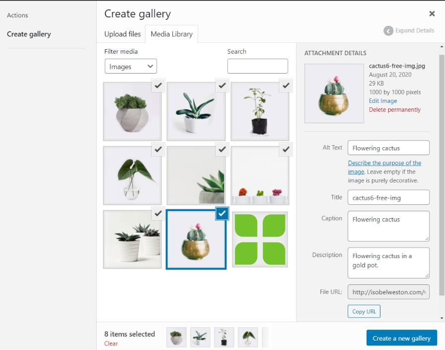Screenshot of the Create Gallery screen in WordPress.