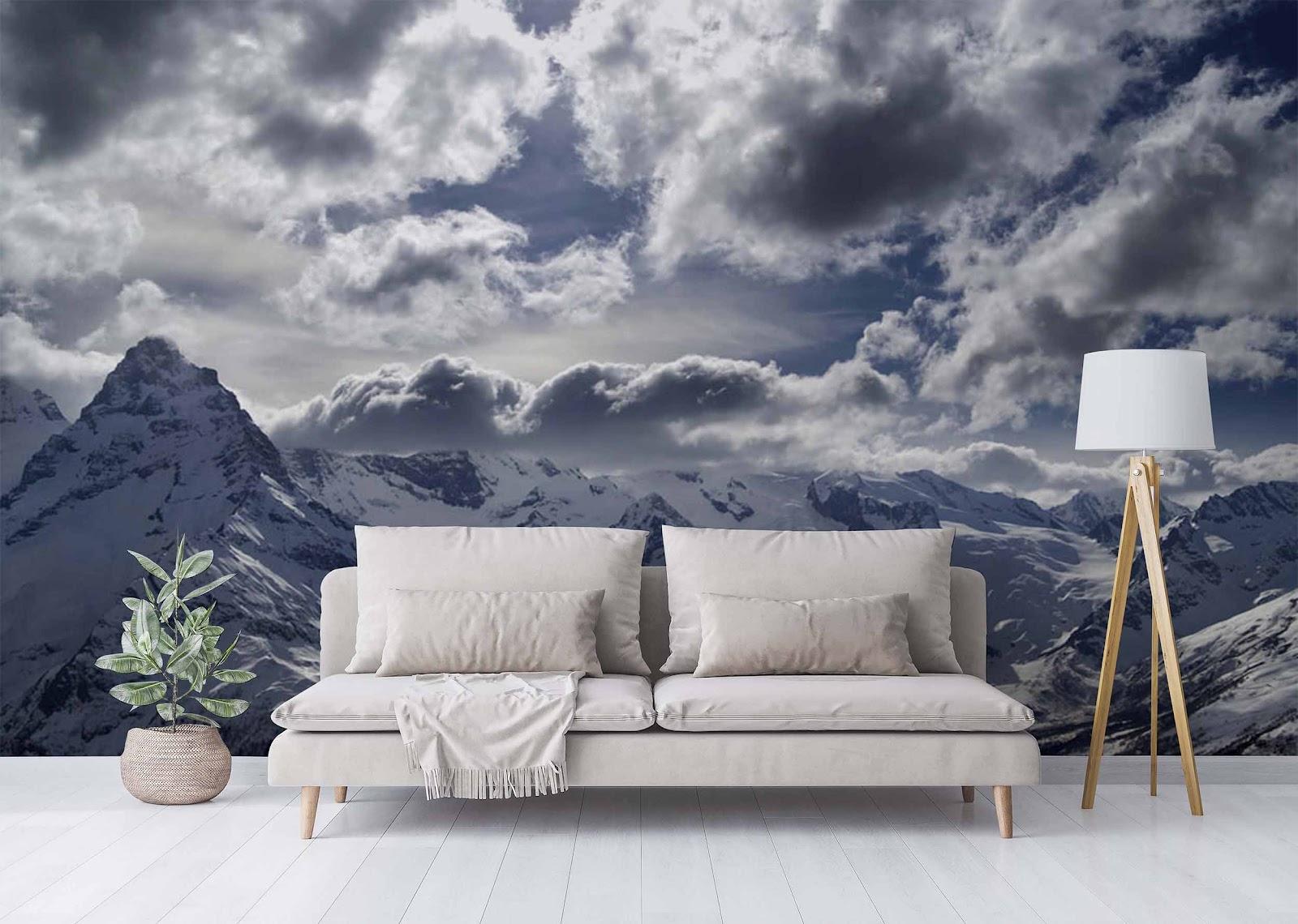 Фотообои с панорамой гор в интерьере гостиной